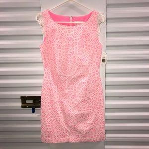Jessica Simpson White Eyelet & Pink Sheath Dress
